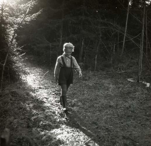 Solen lyser upp stigen pojken går längs. Ljuset träffar en gran bakifrån som sprider ljuset över skogsdungen barnet precis lämnat. Pojken har på sig skjorta, långkalsonger, hängselshorts och stövlar. Hans blick är riktad mot marken och han går framåt mot öppnare mark.