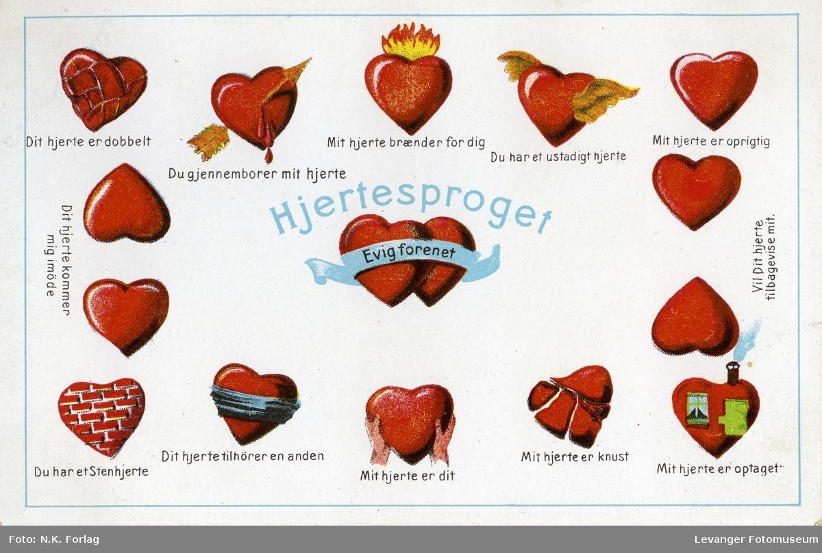 Postkort, hjertesproget.