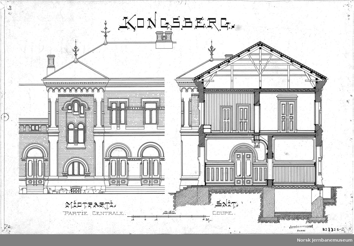 Kongsberg stasjonsbygning, midtparti og snitt