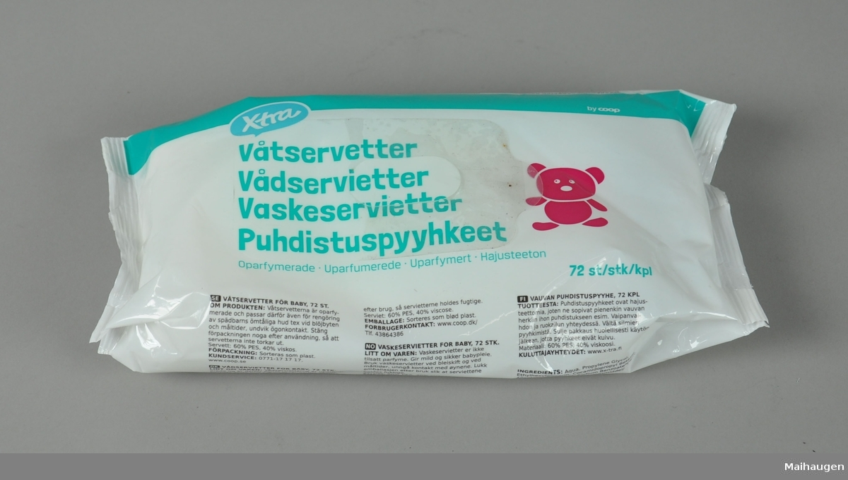 Pakke med våtservietter, har vært brukt - de fleste våtserviettene er fortsatt i pakken.
