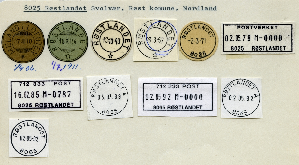 Stempelkatalog 8025 Røstlandet (Meland i Lofoten), Røst, Nordland