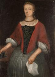 Margrethe Clausdatter Riis, portrett, Stange Kirke. Hun var