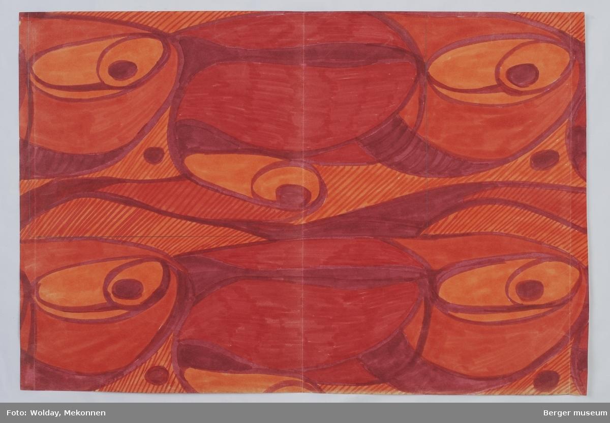 """Ovale sirkler som flettes i hverandre i et symmetrisk mønster. Noen av ovalene har et """"øye"""", eller tett sirkel. Ovalene kan assossieres med skjell."""