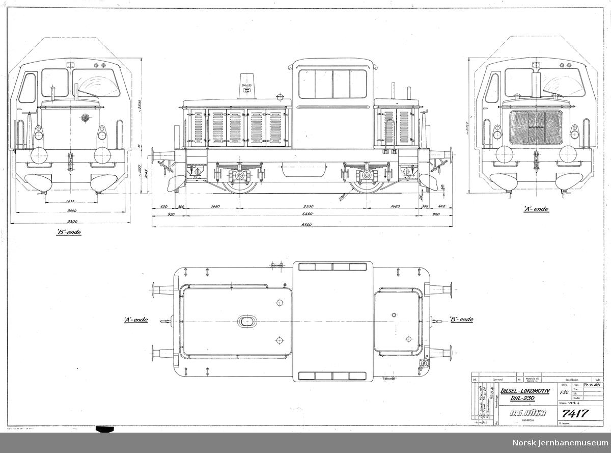 HØKA DHL-230 Diesel-lokomotiv, 1435 mm  NSB type Skd 221, produserte seks stykk til NSB og ett til Norsk Jernverk
