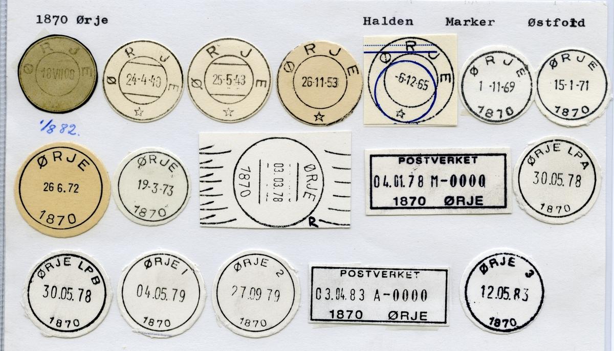 Stempelkatalog  1870 Ørje, Marker kommune, Østfold