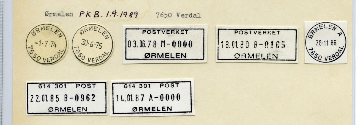Stempelkatalog  Ørmelen, Verdal kommune, Nord-Trøndelag