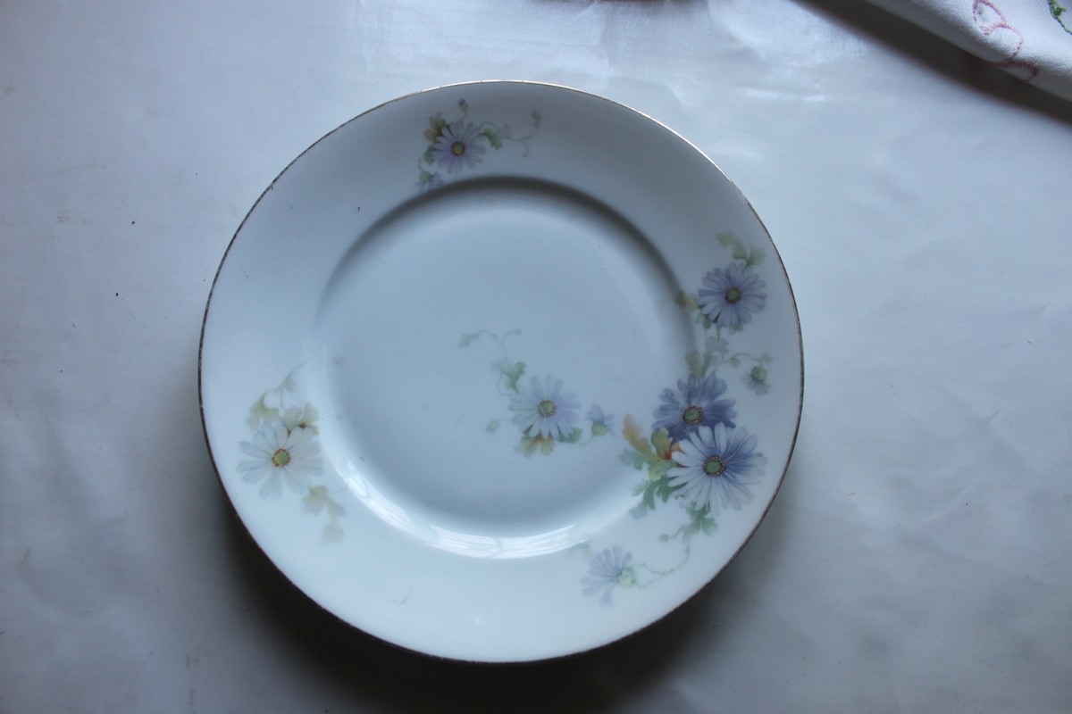 Tallrik av porslin, har plan botten, 3,5 cm brett slätt bräm. Vitglasyr med tryckt dekor i form av blå prästkrageliknande blommor.