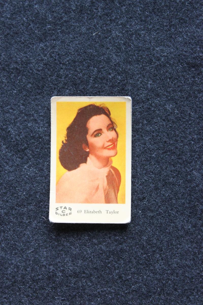Filmstjärnebild med foto föreställande Elisabeth Taylor