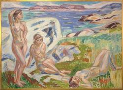 Komposition med tre kvinnor [Målning]
