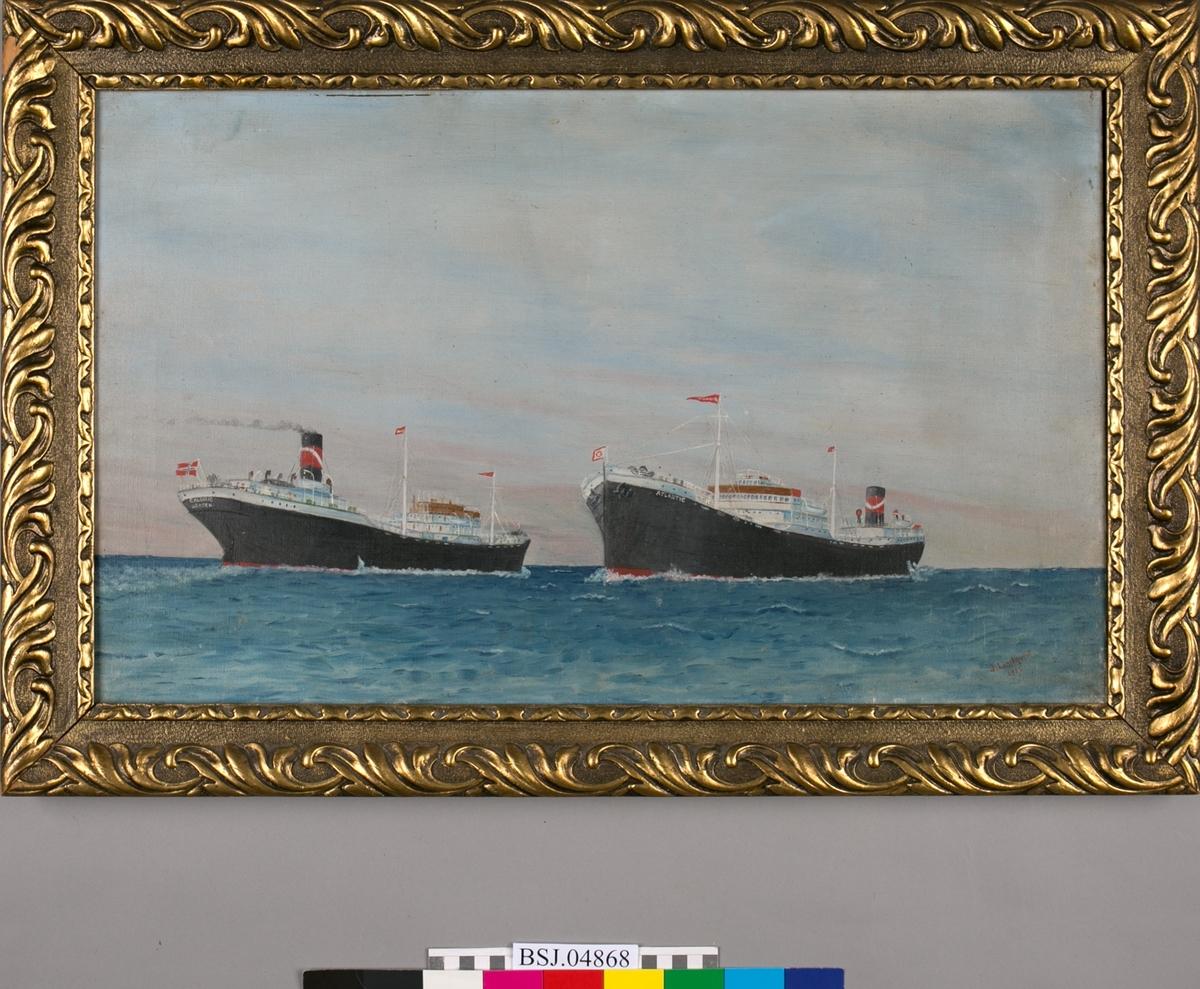Skipsportrett av damptanker CALORIC og motortanker ATLANTIC møter hverandre i rom sjø.
