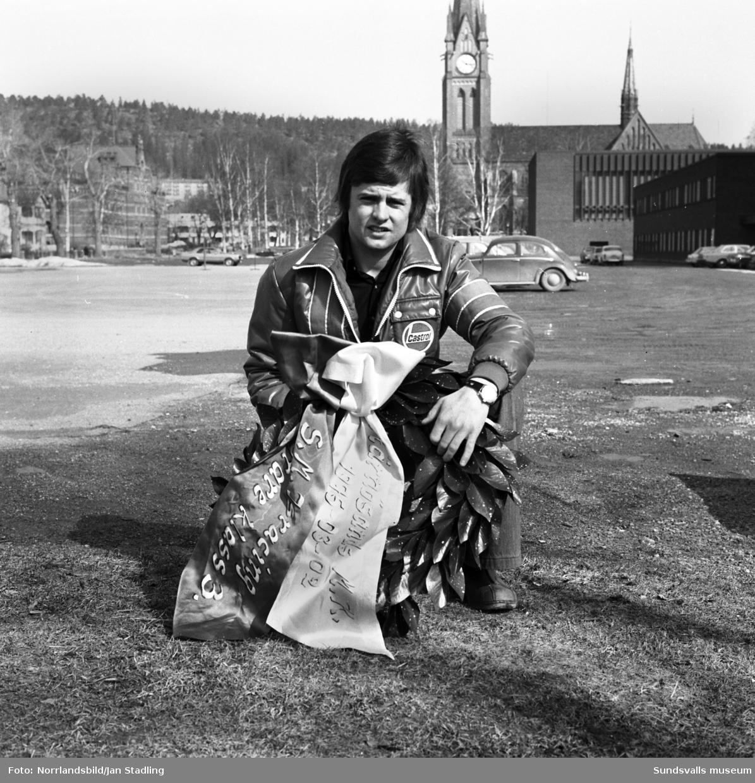 Göran Olsson, SMK Sundsvall, SM-vinnare i isracing 1975. Foto från läroverksplanen.