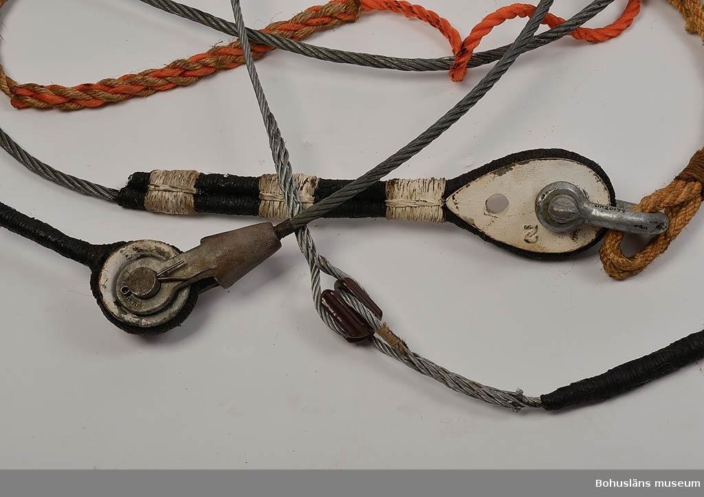 Provet består av olika linor och vajrar med diverse beslag för att visa riggarbeten vid stagning av olika slag.