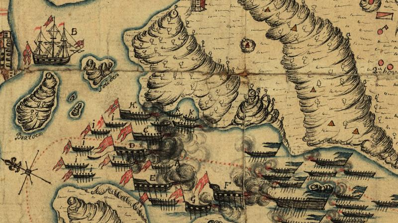 Kart fra 1718 viser et tredvetalls fartøy i sjøslag. (Foto/Photo)