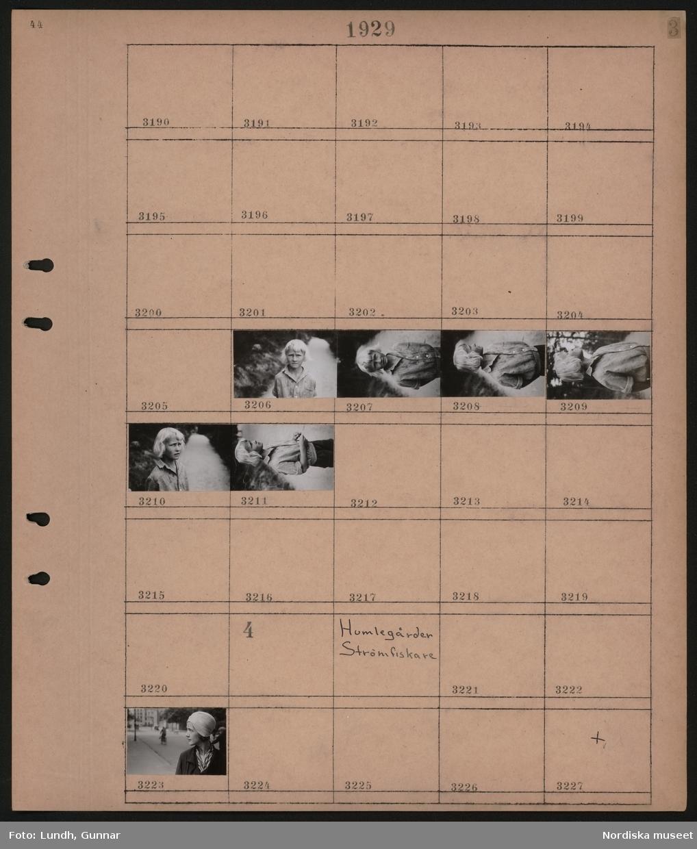 Motiv: Simundervisning, Solvik, John Bauerpojke, Bollman; Porträtt barn.  Motiv: Humlegården, Strömfiskare; Porträtt kvinna.
