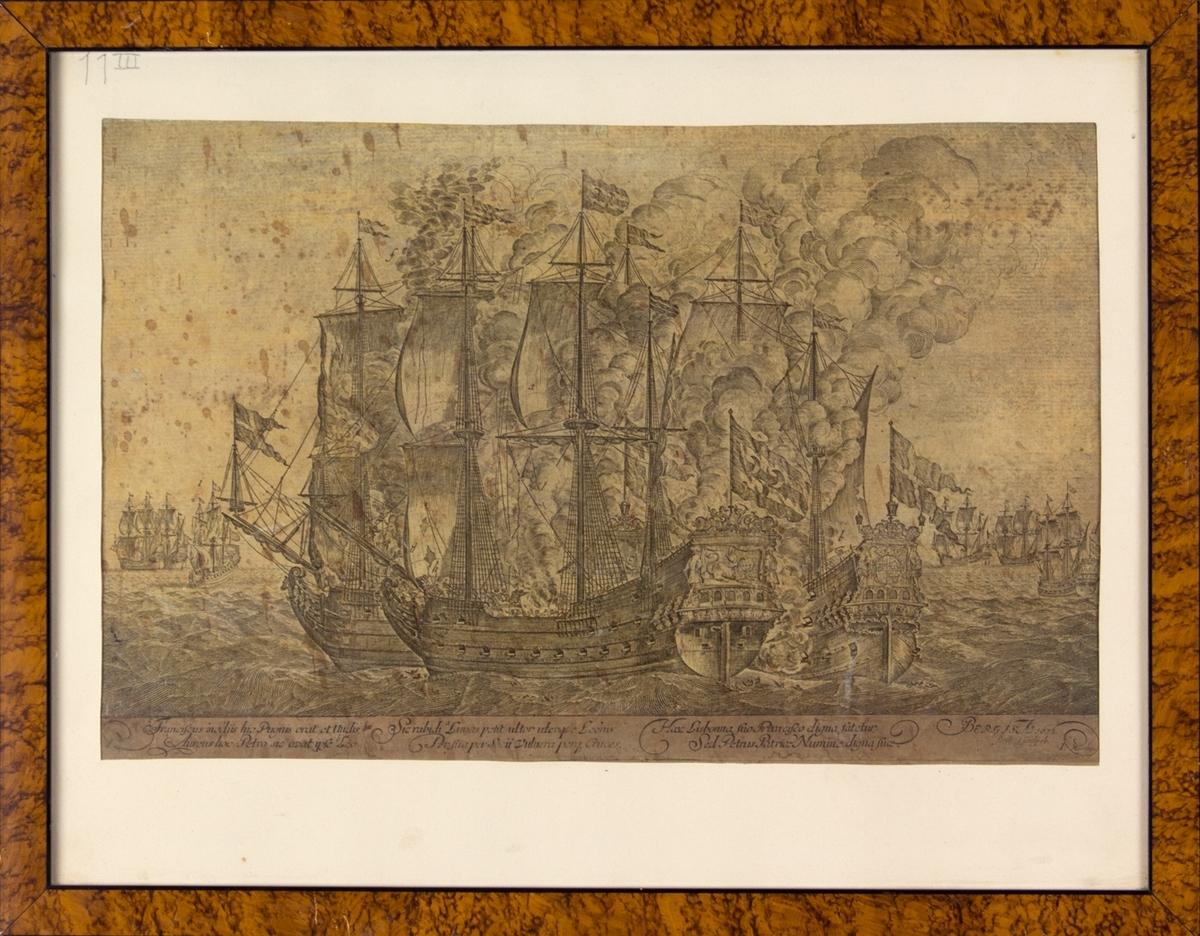 Kobberstikket fremstiller bergenske defensjonsskip i kamp med en algiersk korsar utenfor Portugals kyst 23 mai 1672.