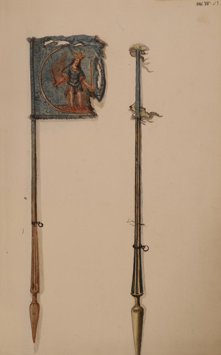 Avbildning i gouache föreställande fälttecken tagna som troféer av svenska armén. De avbildade standaren finns bevarade i Armémuseums samling, för mer information, se relaterade objekt.