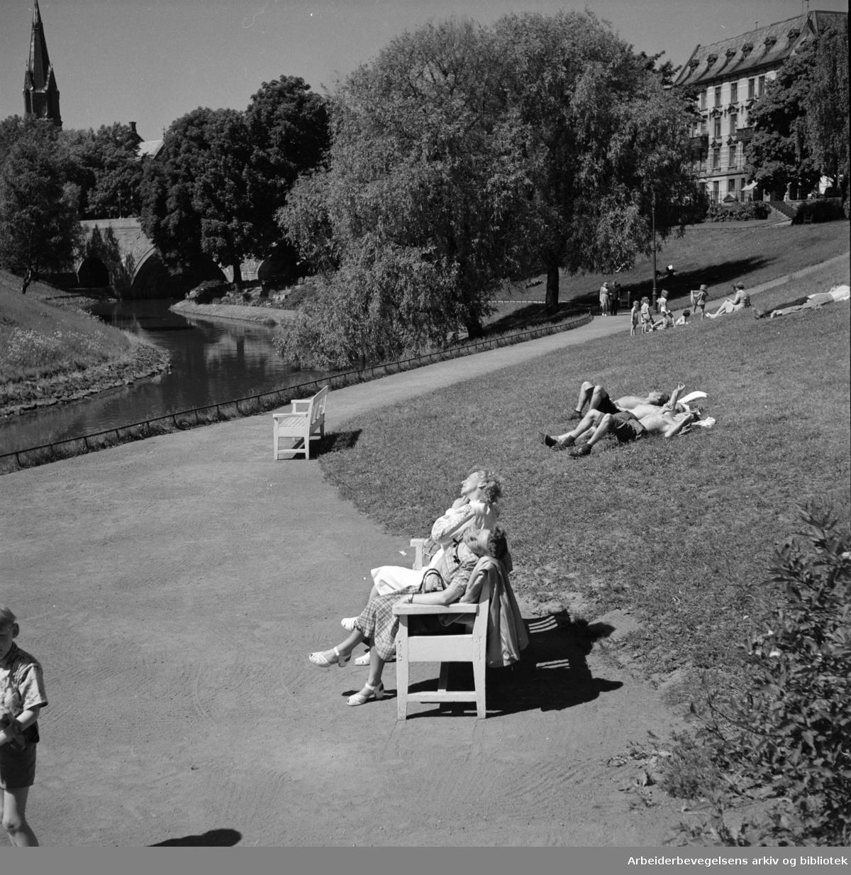 Akerselva ved Ankerbrua. Juni 1950