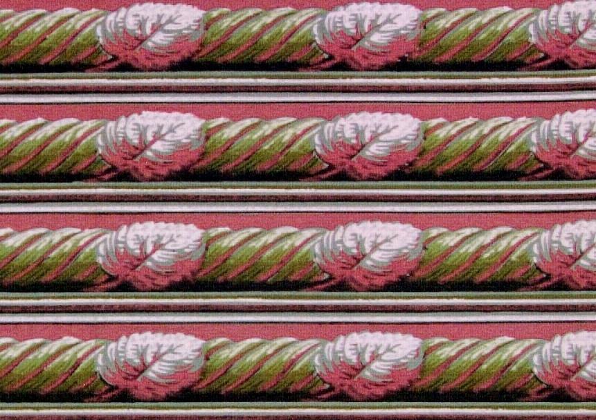 Snedställt blad över spiralband i två rosa och två gulgröna nyanser. Ljusgrönt genomfärgat papper. Tapet från Knutstorps säteri i  Flisby  -Eksjö.