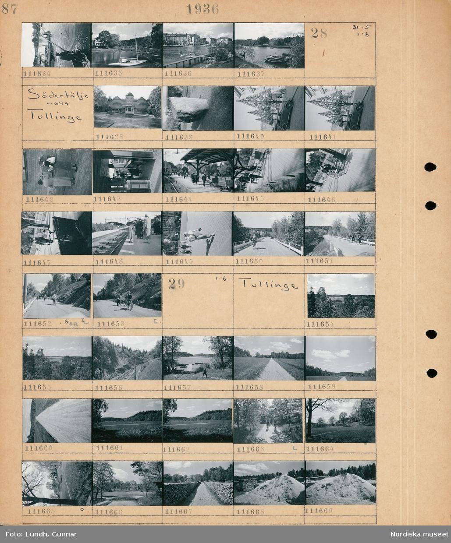 Motiv: Södertälje: En man fiskar med en håvfiskebåt, stadsvy med hamn och båtar.  Motiv: Södertälje -649, Tullinge; Exteriör av byggnad, gatuvy med en parkerad bil, två kvinnor lägger på brev på en brevlåda, människor på en perrong på en järnvägsstation, en stins, landskapsvy med en väg med cyklister och fotgängare.  Motiv: Tullinge; Landskapsvy med skog och vatten, en hög med sågspån.