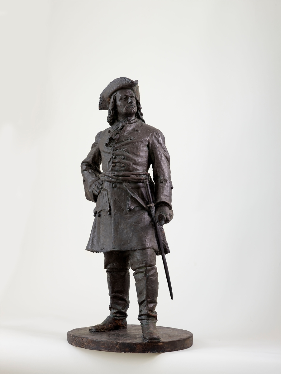Utkast til 2. konkurranse om Tordenskioldmonument. Svor fekk 1. premie i 1891, men han tapte oppdraget. Dansk-norsk sjøoffiser og krigshelt.