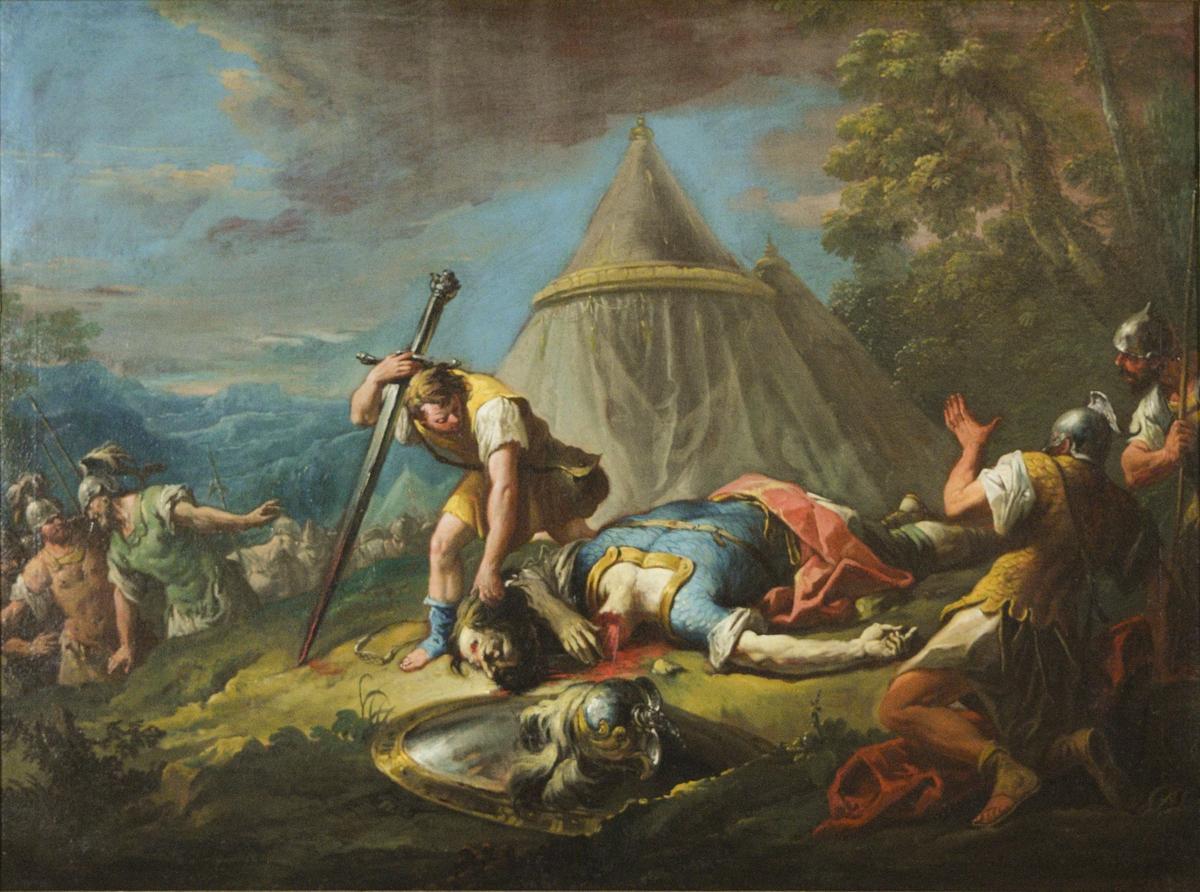 Scenen foregår på en bakketopp eller platå med to telt som bakgrunn. David støtter seg til Goliats sverd og bøyer seg for å gripe hodet til kjempen nylig skilt fra kroppen. Goliat ligger fullt utstrakt i blå rustning slik han har falt. I gresset ligger Davids slynge og Goliats hjelm og skjold. Til høyre sees to soldater med forskrekkede gester og uttrykk. Nede i bakken er flere soldater på vei oppover med to offiserer fremst som ser ut til å veksle noen anerkjennende ord.