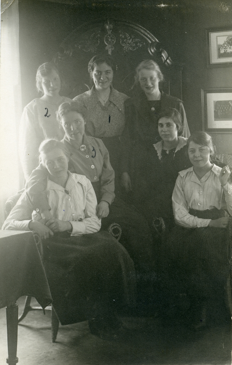 Gruppebilde av 7 kvinner. De er elever ved Vestoppland folkehøgskule, Hadeland.