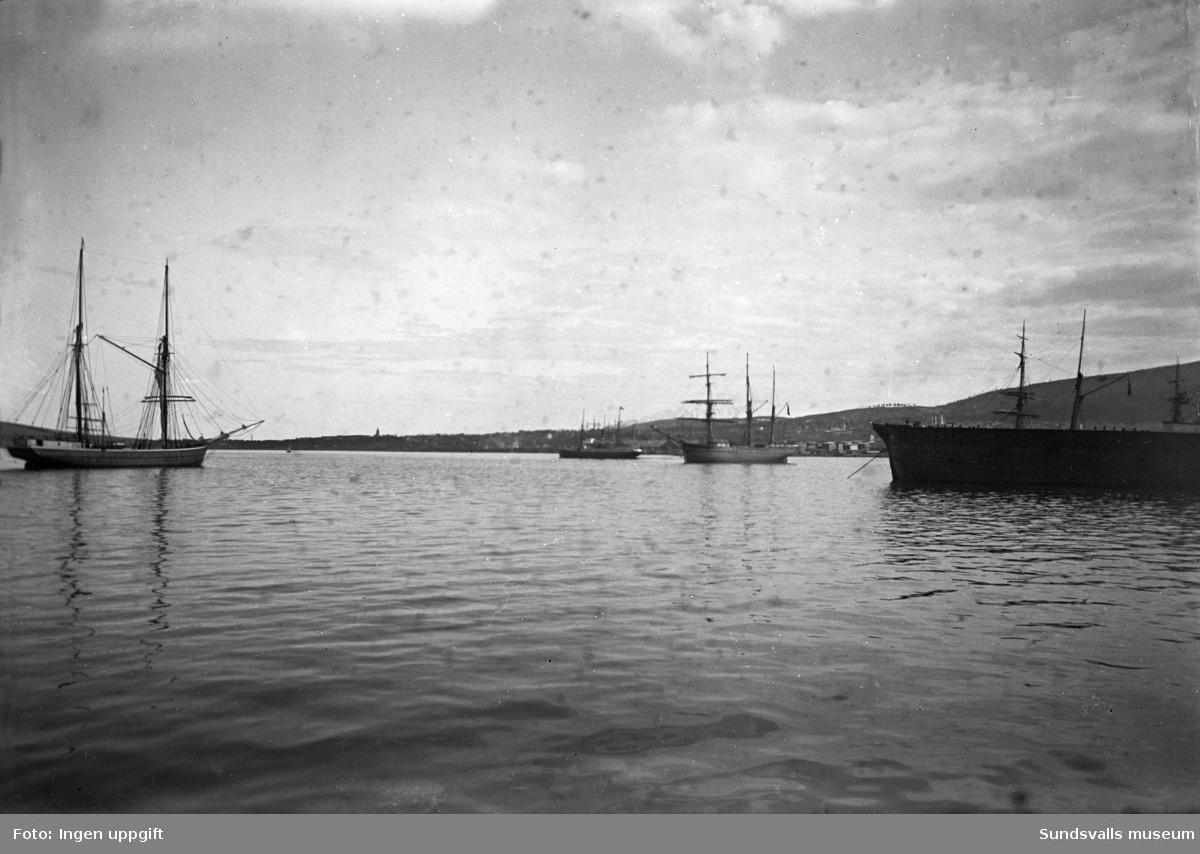 Hamnvy mot söder, fartyg.