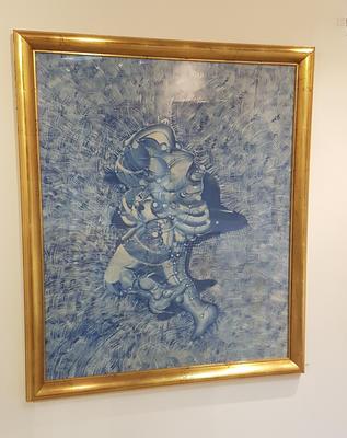 I gresset. 1975. Olje på papp. 118x98 cm. Kr. 58.333
