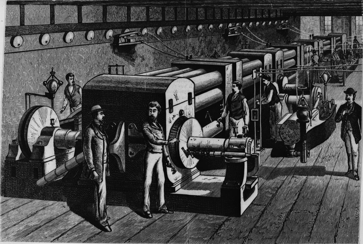 Interiör av Edisons elektriska belysningsstation i New York år 1882. Ur Scientific American.