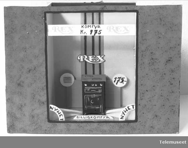 Rex komfyr, vindusutstilling, reklame, Elektrisk Bureau.