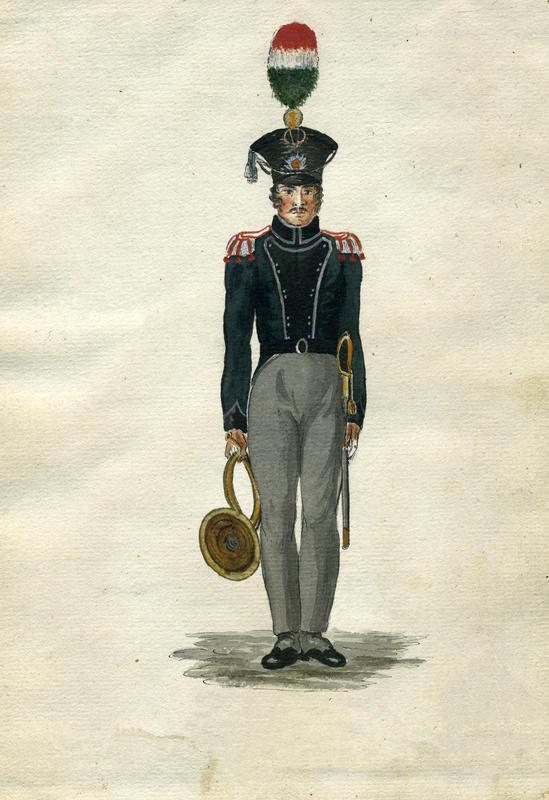 Valdhornist i Trondhjemske Brigades Jægercorps 1818.