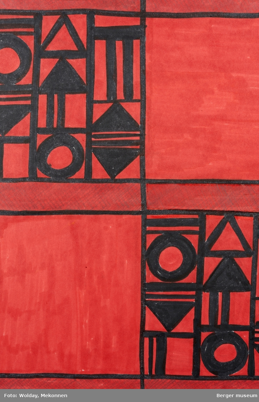 Mønsteret er inndelt som kvadratiske, røde felt dekorert med geometriske mønstre i sort
