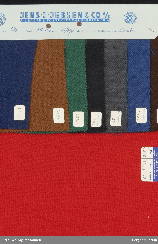 Prøvehefte med 8 prøver Jakke Kvalitet 6300 Stykkfarget