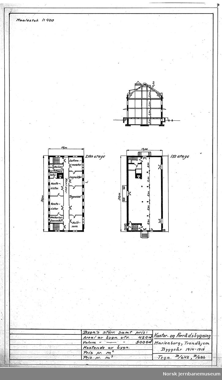 Oversiktstegninger fra NSB Verkstedkontoret 8 tegninger av bygninger på Verkstedet Marienborg