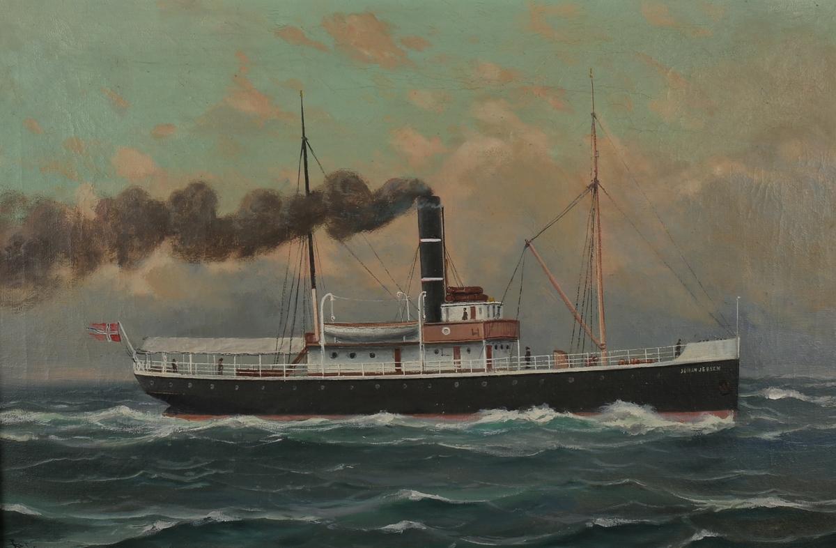 Skipsportrett av DS JOHAN JEBSEN under fart.