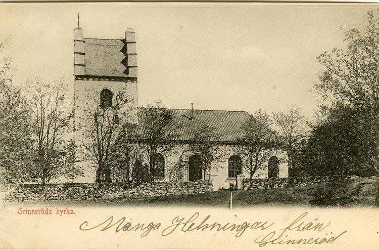 """Enligt Bengt Lundins noteringar: """"Grinneröds kyrka. Södra fasaden""""."""
