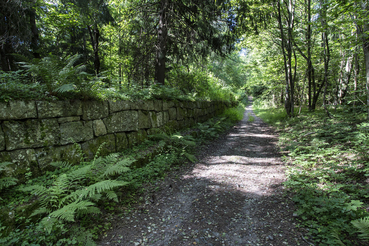 Fra skansen kan man følge den gamle muren ned til veisvingbatteriet.