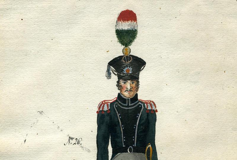 Valdhornist i Trondhjemske Brigades Jægercorps 1818. Gjengitt med tillatelse fra Forsvarsmuseet.