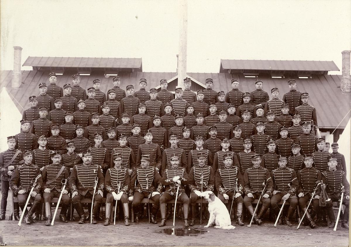 Grupporträtt av officerare och soldater från Skånska husarregementet K 5 på Ljungbyhed, 1896.