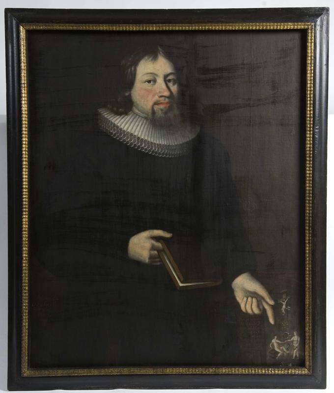 Presten Even Romedal (1661–1705)  peker på syndefallet med Adam og Eva – og slangen. Ukjent maler, datert 1693. (Foto/Photo)