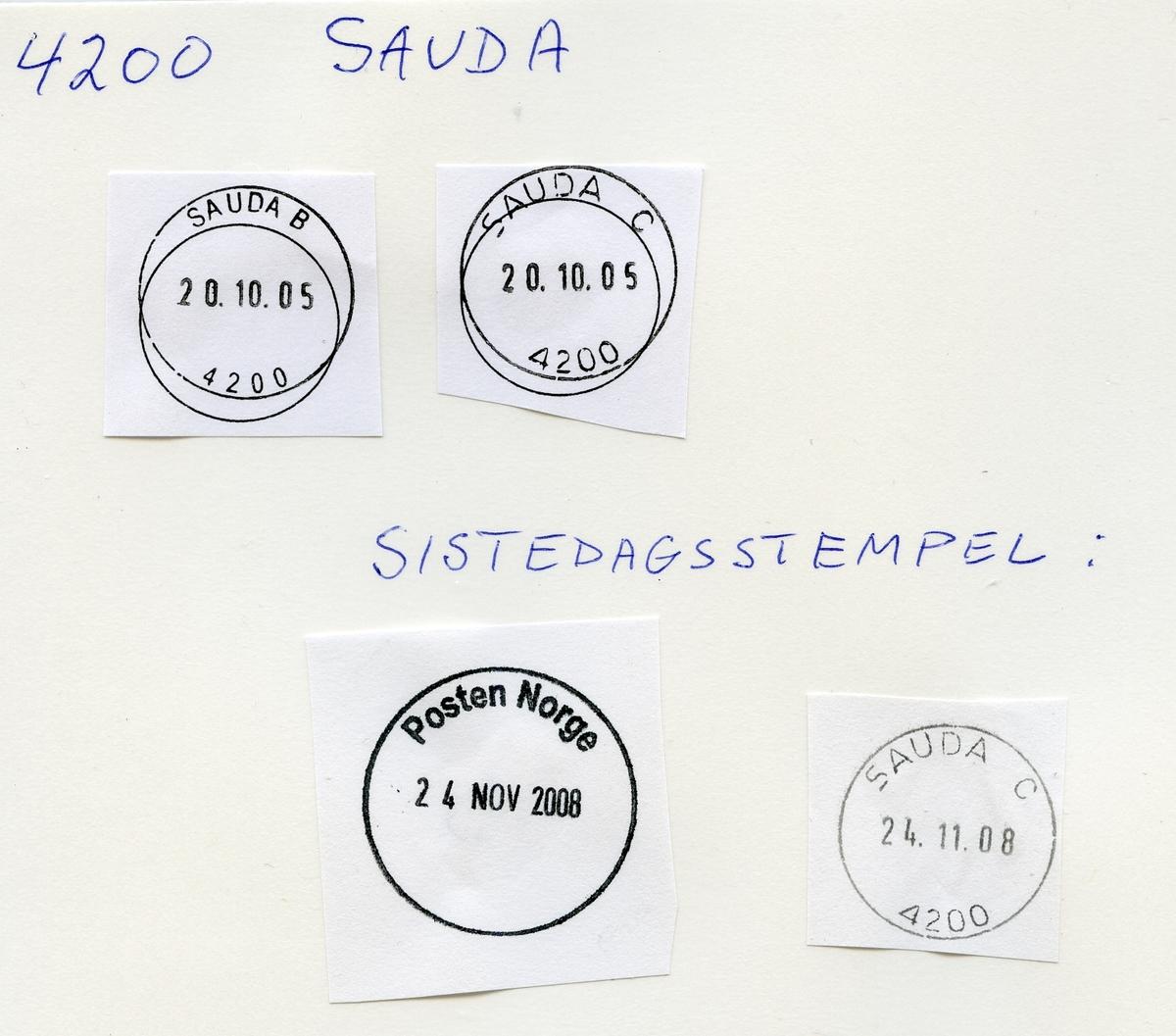 Stempelkatalog 4200 Sauda, Sauda, Rogaland