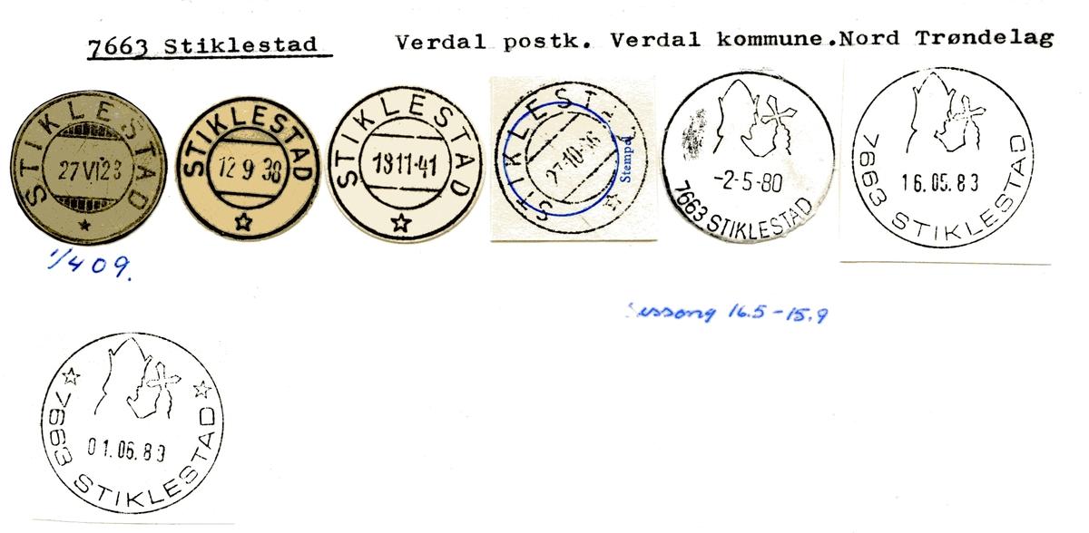 Stempelkatalog  7663 Stiklestad, Verdal kommune, Nord-Trøndelag