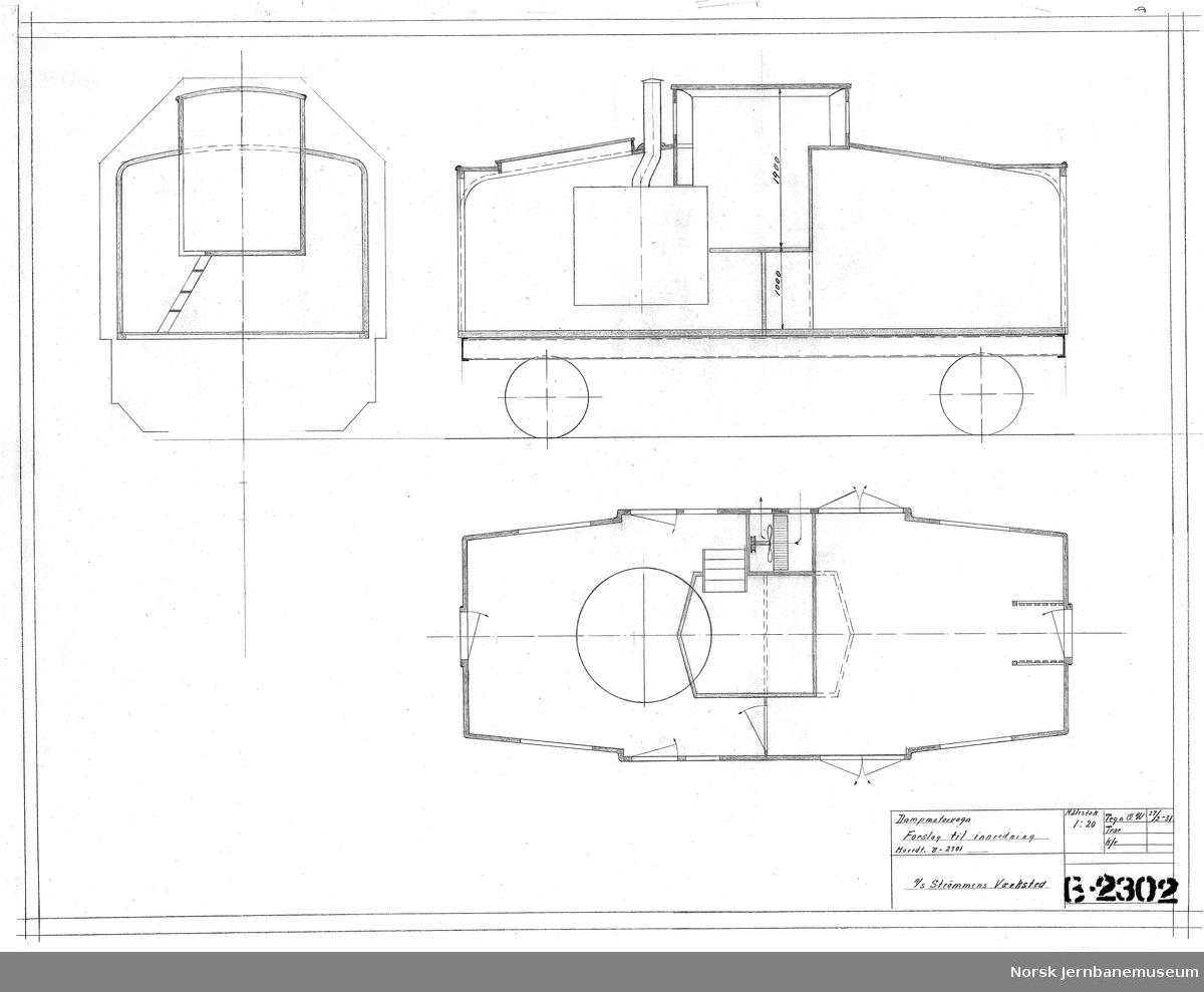 B-2301 Forslag til Damp-motorvogn B-2302 Dampmotorvogn - forslag til innredning, hovedtegn. B-2301 B-2538 Forslag til Damp-motorvogn