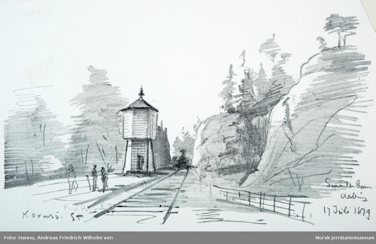 Åpningen av Østfoldbanen Halden-Kornsjø og Dalsland Jernväg - tegninger av von Hanno - fra Kornsjø med vanntårnet