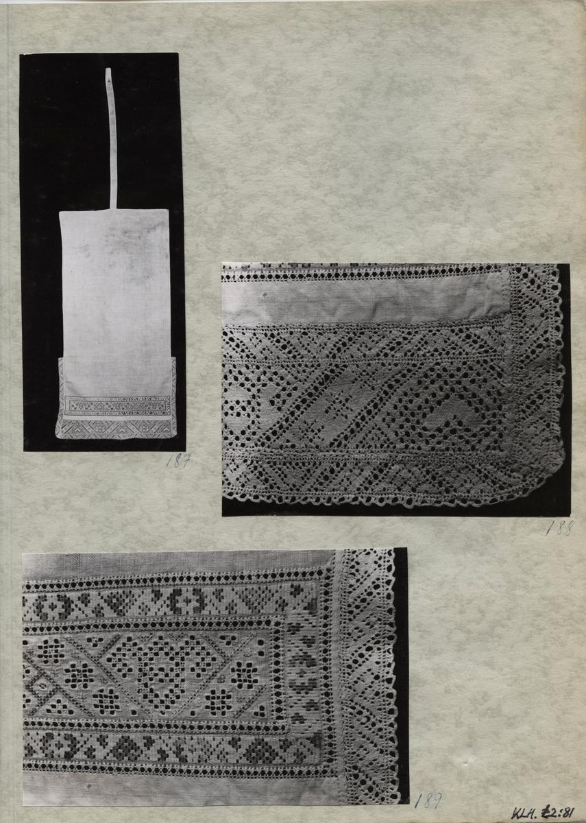 Kartongark med tre fotografier av klutband.