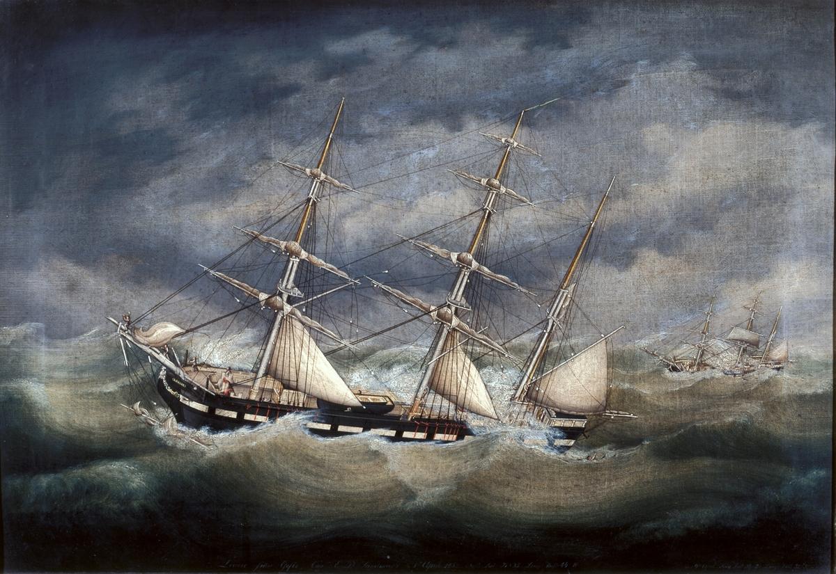 Fartygsmålning föreställande barken Louise, daterad april 1852. Kom till Gävles handelsflotta 1841.