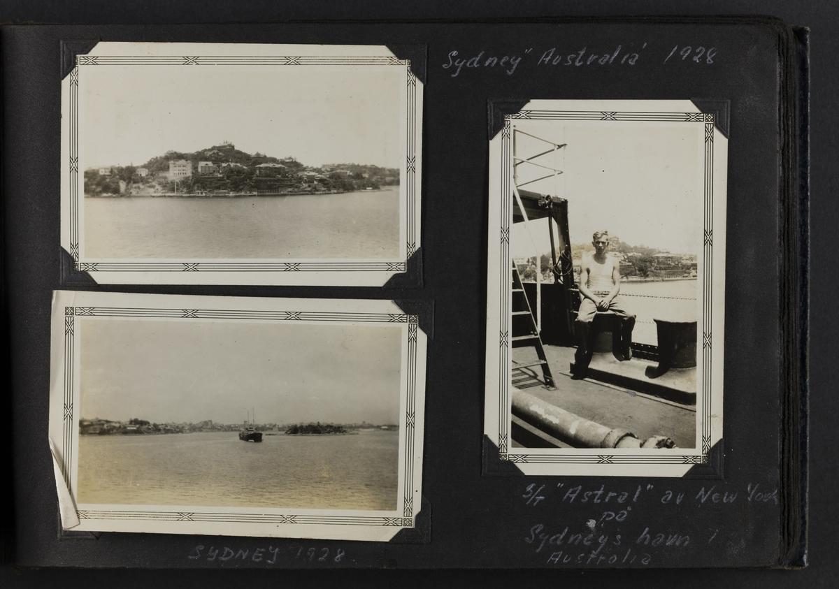 """Sydney Australia 1928 (2 landskape bilder). S/T """"Astral"""" av New York på Sydneys havn Australia (til høyre)."""