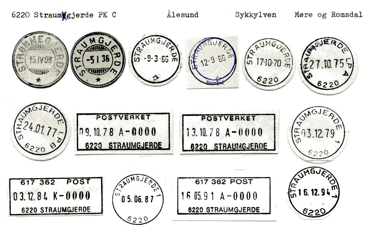 Stempelkatalog 6220 Straumgjerde (Strømmegjerde), Ålesund, Sykkylven, Møre og Romsdal