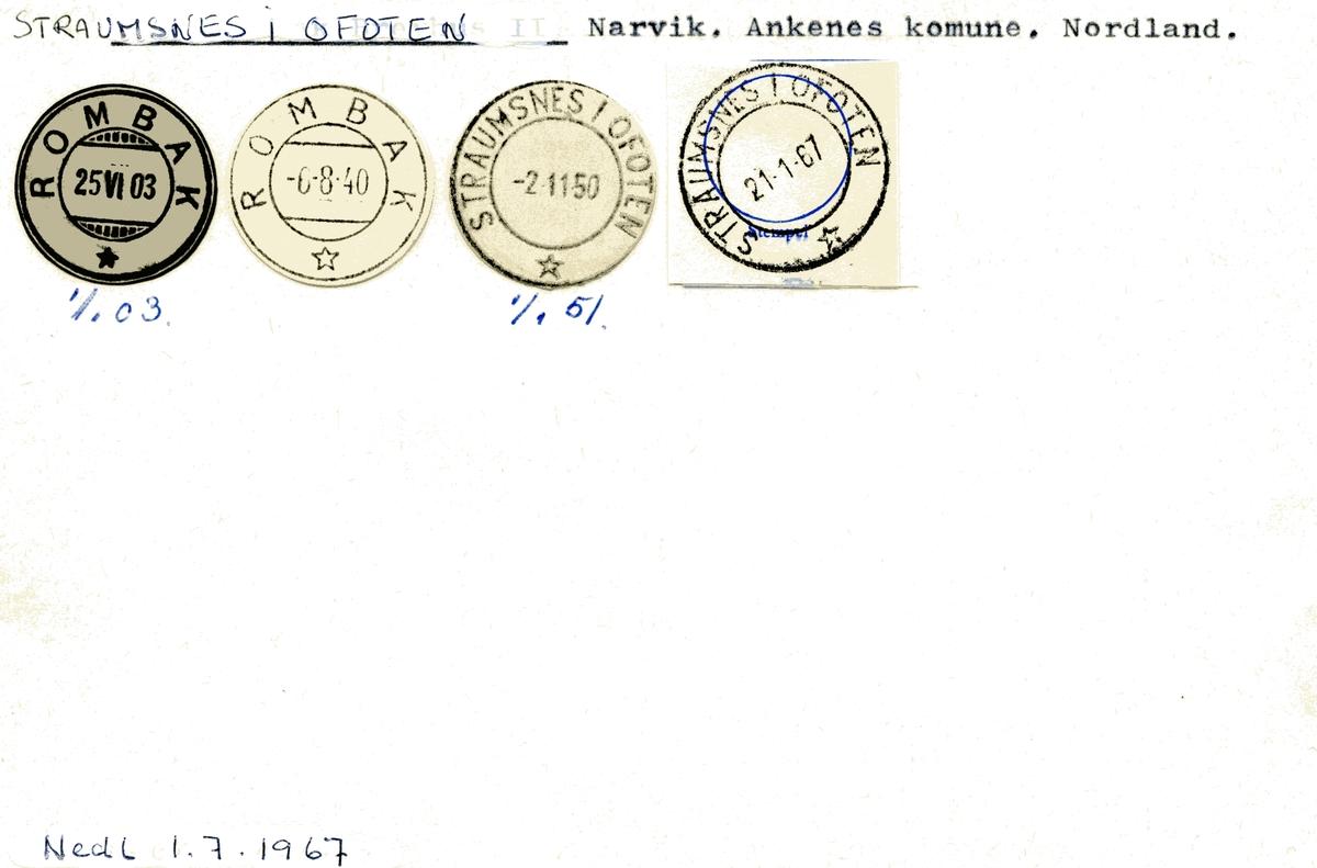 Stempelkatalog Straumsnes i Ofoten (Rombak), Narvik, Ankenes, Nordland