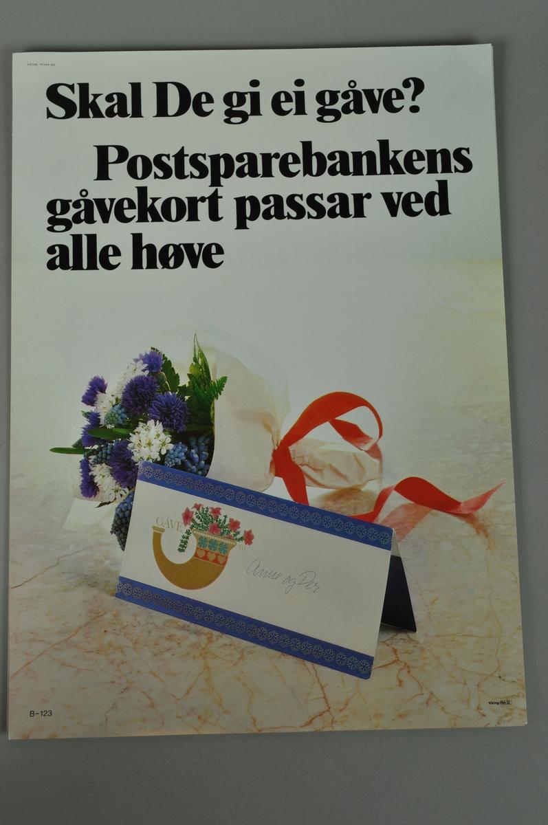 Reklameplakat med tekst og foto. Samme motiv på begge sider med tekst på bokmål og nynorsk.